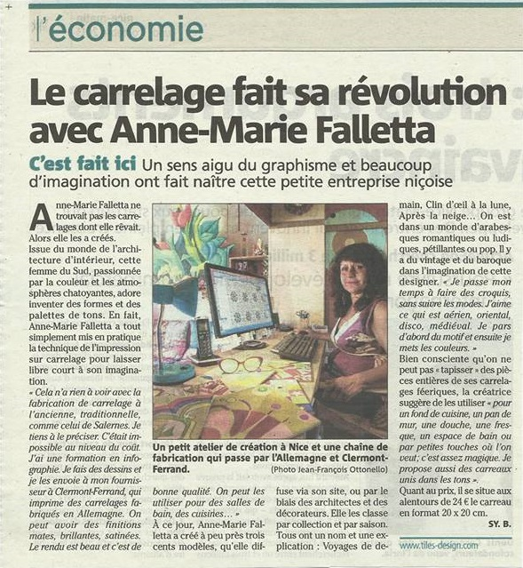 Article-Nice matin Anne-Marie Falletta tile carrelage Design